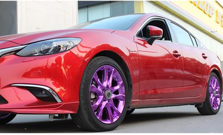 马自达阿特兹红色车轮毂改电镀紫色