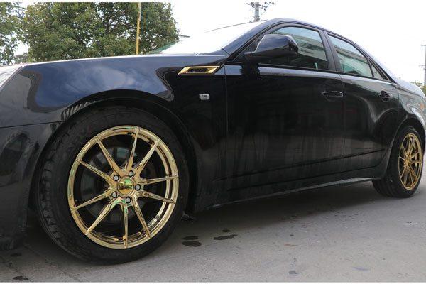 凯迪拉克cts黑色车身轮毂改色